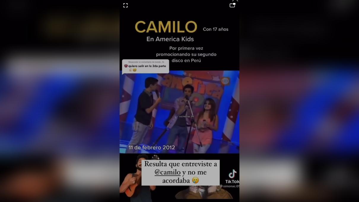 """La influencer Ximena Hoyos recordó que entrevistó a Camilo cuando no era tan famoso: """"Resulta que entrevisté a Camilo y no me acordaba"""" [VIDEO]"""